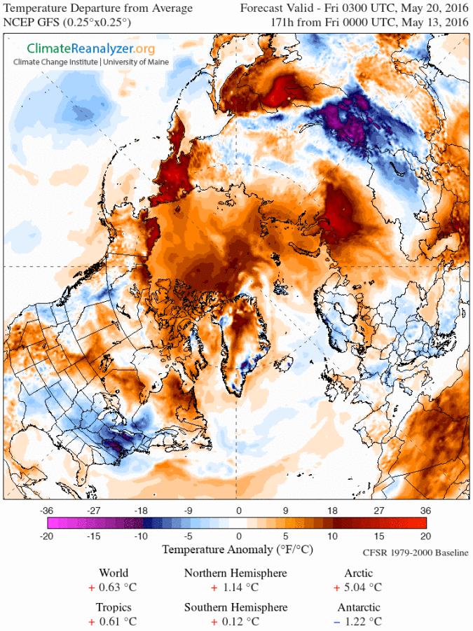Previsão de onda de calor no Ártico com anomalia da temperatura para 20 de Maio de 2016