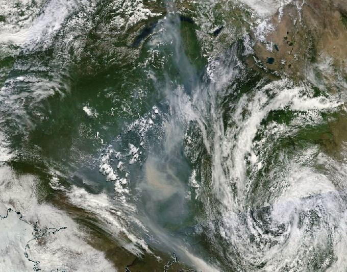 Incêndios Florestais na Sibéria e cobertor de fumo